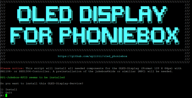 Installation OLED Display for Phoniebox