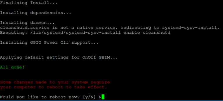OnOffShim ist installiert